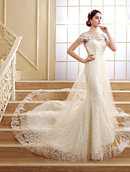 Trumpet / Mermaid Wedding Dress Floral Lace Court Train Off-the-shoulder Lace with Beading Sash / Ribbon