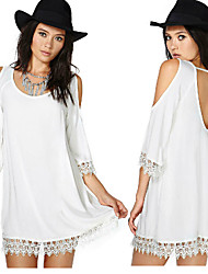 Morefeel Women's Casual/Lace Round ¾ Sleeve Dresses (Chiffon)