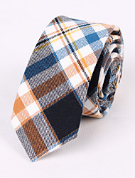Yellow Brown Cotton Narrow Blue Grid Tie