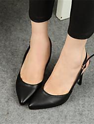 Stiletto - 6-9cm - Damenschuhe - Sandalen ( Gummi , Schwarz/Weiß )