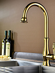 Traditional Ti-PVD Finish One Hole Single Handle Deck Mounted Rotatable  Kitchen Faucet