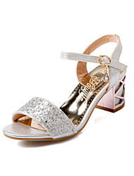 Women's Shoes Chunky Heel Pointed Toe Sandals Party & Evening/Dress Blue/Silver/Gold
