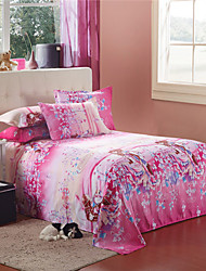 Pink Cotton Full Flowers Printed Duvet Cover
