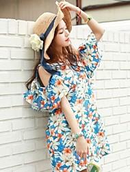 Vestidos ( Gasa )- Casual Redondo Manga Corta para Mujer