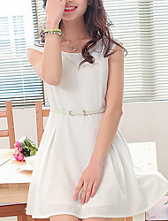 Women's Cute Inelastic Sleeveless Above Knee Dress (Polyester)(Without belt)