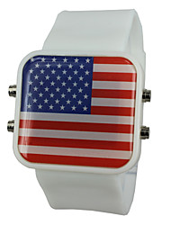 Unisex LED USA Flag Style Silicone Band Wrist Watch