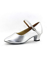 Women's Dance Shoes Modern Leatherette Chunky Heel Silver/Gold