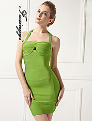 FUXIANGYI®  Women's Sexy Cocktail Party Halter Backless Sheath/Column Halter Short/Mini Spandex/Polyester Dress