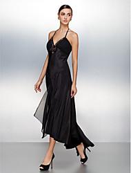 Fiesta formal Vestido - Negro Corte A Asimétrico - Escote Halter Satén Elástico