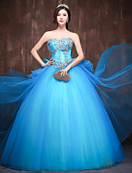 Formal Evening Dress - Pool Petite Ball Gown Sweetheart Floor-length Satin / Tulle / Polyester