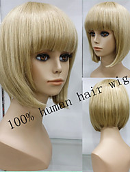 Exquisite 100% Human Hair Wig Capless Natural glueless cap wig Hair Short Blonde Wigs