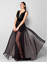A-Line V-neck Sweep / Brush Train Chiffon Velvet Formal Evening Dress with Draping by TS Couture®