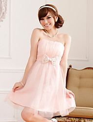 Cocktail Party Dress - Pearl Pink/Champagne A-line Strapless Knee-length Satin/Tulle