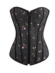 corsets shapewear chinlon poliéster com zíper flor de amêndoa-de-rosa preto sexy lingerie shaper