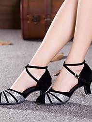 Chaussures de danse (Rouge/Argent/Or) - Non personnalisable - Talon Large - Satin/Suédé/Paillette - Moderne