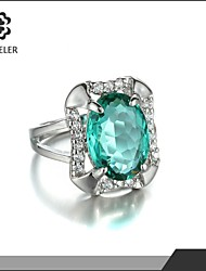 Statement Rings Zircon Cubic Zirconia Platinum Plated Fashion Yellow Green Blue Pink Light Brown Jewelry Party 1pc