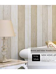 bande de papier peint contemporain méditerranéen conceptions en bois brun et mur blanc couvrant l'art non-tissé mur de papier