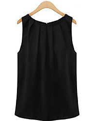 Women's Sexy Casual Plus Sizes Inelastic Sleeveless Long Blouse (Chiffon)