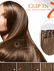 """7 Pieces 18"""" 100g Dark Brown Color Easy on Clip in 100% Peruvian Remy Human Hair Ty.Hermenlisa"""