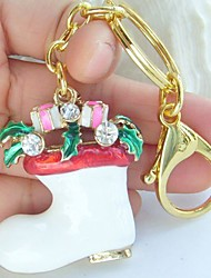 Christmas BOOT Key Chain With Clear Rhinestone Crystals