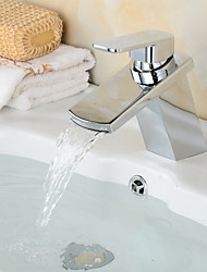 Modern Chrome Finish Waterfall Bathroom Sink Faucet - Silver