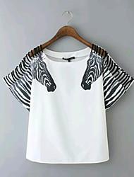 Mulheres Camiseta Manga Curta Chifon Mulheres