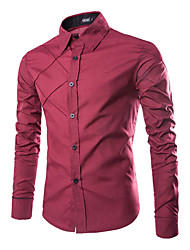Ed Men's Casual Shirt Collar Long Sleeve Casual Shirts
