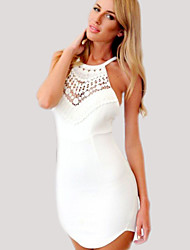Women's Solid White Dress , Sexy Crew Neck / Round Neck Sleeveless