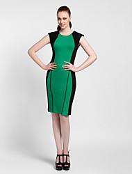 Cocktail Party Dress Sheath/Column Jewel Knee-length Polyester