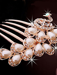 Fashion Golden Alloy Peacock Hair Comb for Women, Weddding Hair Accessories with Rhinestones for Flower Girls
