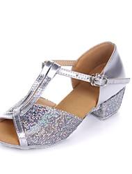 Women's/Kids' Dance Shoes Belly/Latin/Dance Sneakers/Flamenco/Samba Leather/Paillette Flat Heel Silver/Gold