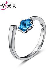 mode d'ouverture de cycle de cristal de prune femme coréenne anneau de l'amour 925 amoureux de la bague en argent