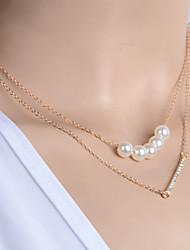 Women's Fashion Zircon Pearl Pendant Multilayer Necklace