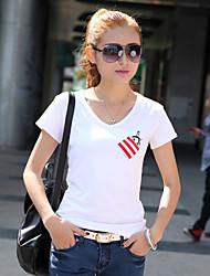 Damen T-Shirt Baumwolle Kurzarm V-Ausschnitt
