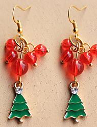 Women's Christmas Trees Bai Lei Wire Snowflake Crystal Pearl Stud Earrings