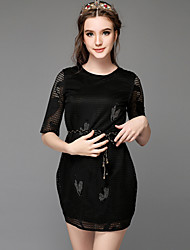 Large Plus Size Women Fashion Vintage Bead Hollow Out Sexy Casual Party Work  ½ Length Sleeve Dress With Belt