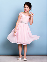 Lanting Bride® Knee-length Chiffon / Lace Junior Bridesmaid Dress A-line Off-the-shoulder with Bow(s) / Crystal Detailing / Sash / Ribbon