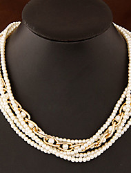 Necklace Pearl Necklace / Strands Necklaces Jewelry Party / Daily Fashion Pearl / Alloy / Imitation Pearl Gold / White 1pc Gift