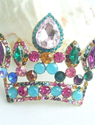 Women Accessories Gold-tone Multicolor Rhinestone Crystal Crown Brooch Art Deco Crystal Brooch Bouquet Women Jewelry