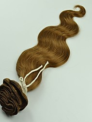 """12 """"-26"""" mogolian onda corpo cabelos cheios cabeças clipes de extensões de cabelo castanho claro Cor"""