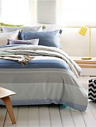 4pcs Quilt Cover Sets Grey Blue Striped