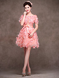 Cocktail Party Dress - Blushing Pink A-line Jewel Knee-length Lace/Satin/Tulle/Stretch Satin