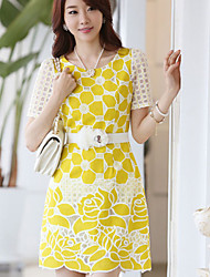 Women's Yellow Dress , Work Short Sleeve