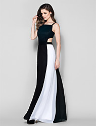 Sheath / Column Square Neck Floor Length Chiffon Formal Evening Dress with Sash / Ribbon Pleats by TS Couture®