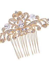 8.5cm Gold Rhinestone and Zircon Bridal Wedding Prom Flower Girl Leaves Flower Hair Comb