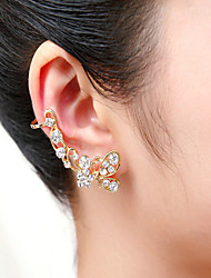 May Polly Rhinestone butterfly long section unilateral ear bones clip single