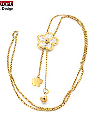 316L Stainless Steel IP Gold Long Chain Necklace with Flower Pendant & Flower and Ball Charming for Women