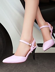 Women's Spring Summer Fall Leatherette Office & Career Dress Casual Stiletto Heel Split Joint Black Pink Beige
