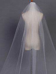 Wedding Veil One-tier Chapel Veils Pencil Edge 110.24 in (280cm) Tulle White Ivory