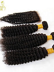 3 Bundles Indian Kinky Curly Virgin Hair With Closure Unprocessed Human Hair Weave And Free/Middle Part Lace Top Closure